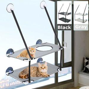 MECO 2-lagige Katzenbett Hängematte mit robusten Saugnäpfen, hält bis zu 20 kg, einfach zu installieren Grau