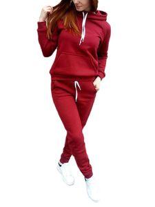 Lässiger, lockerer Sportanzug mit Kapuze für Damen,Farbe: rot,Größe:XL