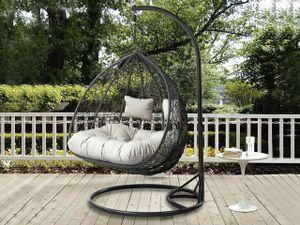 Mirjan24 Hängesessel Opam, Zweisitzer Hängekorb, Stilvoll Gartensessel mit Stahlskelett (Farbe: Grau / Kissen: Grau)