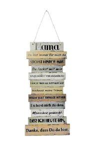 Danke Mama Schild mit Sprüchen 15 x 32 cm zum Hängen