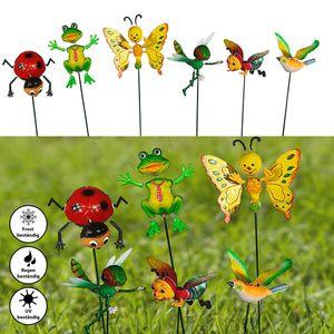 6x Gartenstecker Tiere H60cm mit Maikäfer, Frosch, Schmetterling, Grashüpfer, Vogel + Biene