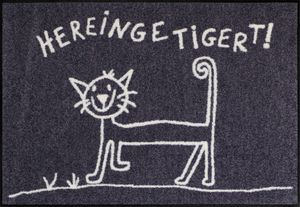 Salonloewe Fußmatte Hereingetigert 50 x 75 cm waschbare Katzenfußmatte