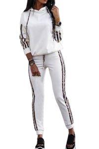 Damen Leoparden Print Design Jogginganzug Stretch Freizeitanzug Fitness Set Streifen Trainingsanzug, Farben:Weiß, Größe:42