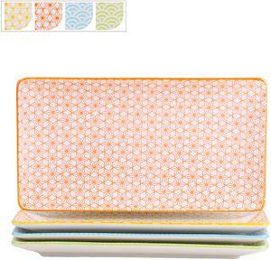 vancasso Natsuki Porzellan Servierplatten, 4 teilig Rechteckige Teller Set, Servierteller
