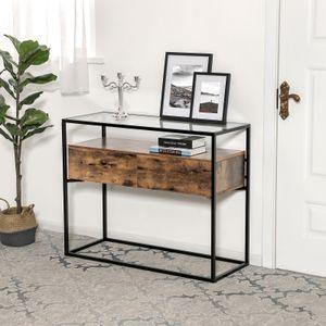 VASAGLE Konsolentisch mit 2 Schubladen und Ablage 100 x 40 x 80 cm Glastisch Beistelltisch Holzoptik Sideboard Flurtisch Vintage stabil LNT11BX