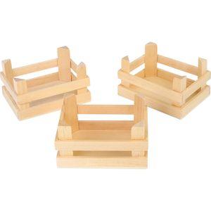 Small Foot 1808 Kleine Holz Kisten, für Kaufläden, 10 x 8 x 5,5 cm, natur (3er Pack)