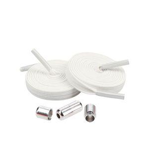 mumbi elastische Schnürsenkel mit Schnellspanner - Schnellschnürsystem Schnürsenkel ohne binden - 7mm breit in Weiß