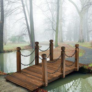 COSTWAY Holzbrücke mit Geländer, Gartenbrücke Teichbrücke, Zierbrücke belastbar bis 120kg, Dekobrücke für Garten, Teich, Bach, Bauernhof 151x67x55cm