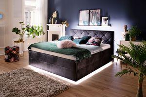 Meise Möbel Polsterbett Terano LED Stoffbezug schwarz 180x200 cm