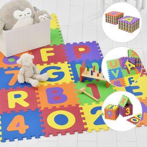 Juskys Kinder Puzzlematte Kim 36 Teile mit Buchstaben A-Z & Zahlen 0-9 - rutschfest & abwischbar  Puzzle ab 10 Monate - EVA Schaumstoff – Spielmatte