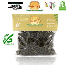 Nudelly's® Quattro Passione, glutenfreie Pasta im 4er Pack, Kürbiskernmehl, Eier-Nudeln mit Tapioka-Stärke als Fusilli, low-carb, paleo, clean, sojafrei