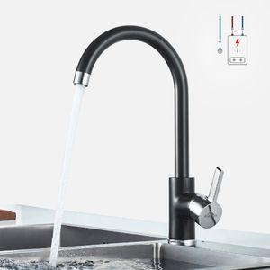 Niederdruck Küche Wasserhahn, 360° Drehbar Küchenarmatur,  Mischbatterie für Durchlauferhitzer, mit 3 Anschlussschläuchen, Schwarz
