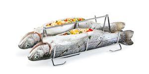 Fischhalter Edelstahl Fischgriller Fischbräter Fischständer TESCOMA GRANDCHEF
