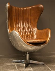 Casa Padrino Art Deco Lounge Chair Drehstuhl Sessel Aluminium / Echt Leder Braun Ei-Form - Club Sessel - Lounge Sessel -  Vintage Airplane Möbel