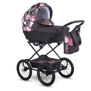 Retro Kinderwagen (ohne Buggy)  Weidenkorb Florale Muster Garden by Liux4Kids Rose G01 Nur Kinderwagen