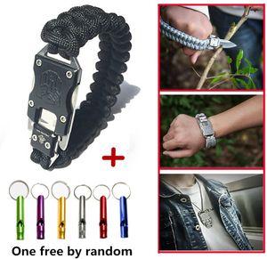 Outdoor Survival Armband Mit Messer EDC Taktisches Messer 7 Core Fallschirm Seil Überleben Armband Selbstverteidigung Armband(Schwarz)
