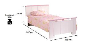 Kinderbett Biotiful weiß / rosa Bett Kinderbett Bettliege Prinzessin Mädchen Kinderzimmer
