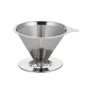 Edelstahl Kaffeefilter ueber Trichter brauen Drip Tea Metal Mesh Basket Werkzeug wiederverwendbare Kueche Coffeeware Waermedaemmung Silikon Griff