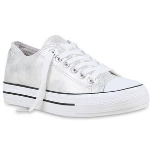 Mytrendshoe Damen Plateau Sneaker Turnschuhe Schnürer Basic Plateauschuhe 825911, Farbe: Silber, Größe: 38