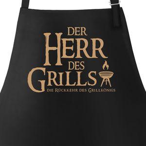 Grill-Schürze für Männer mit Spruch Der Herr des Grills Grillkönig Moonworks® schwarz unisize