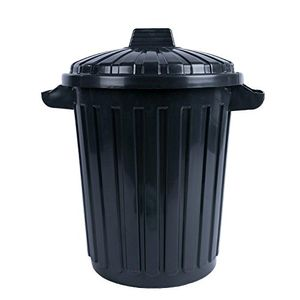 CURVER 70L Mülltonne schwarz Kunststoff Mülleimer + fixierbarer Deckel