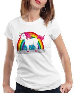 style3 Einhorn Damen T-Shirt Regenbogen Unicorn, Größe:XL