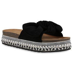 Giralin Damen Sandaletten Pantoletten Schleifen Nieten Plateau Schuhe 837628, Farbe: Schwarz, Größe: 40
