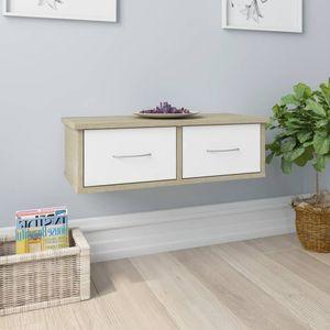 Möbel- Wand-Schubladenregal,Hängeregal Bücherregal Küchenregal Regal Stabile & Modern Weiß Sonoma-Eiche 60×26×18,5 cm Spanplatte☃5460