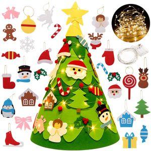 Filz Weihnachtsbaum Kinder,DIY Weihnachtsbaum Filz Kinder Mit Ornamenten Dekoration |3D Filz Weihnachtsbaum |Filz Weihnachtsbaum Set Für Home Geschmückter Weihnachtsbaum
