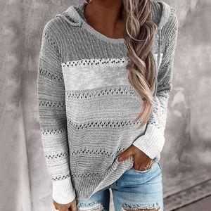 Damen Kapuze Leichte Strickpullover Langarm Streifen Pullover Sweatshirt Top SFW200817312 Größe:L,Farbe:Grau