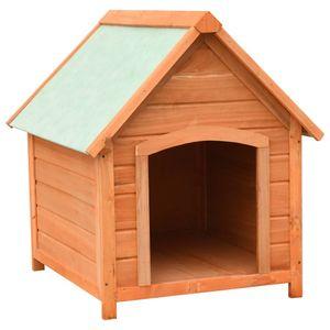 Perfekt® Hundehütte,Outdoor Hundehaus für große Hunde,Platz für ein Hundebett, Kiefernholz & Tannenholz Massiv 72x85x82 cm🍹8959