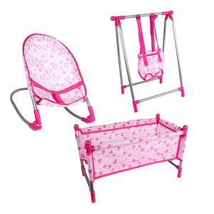 Baby Puppe Wiege Puppenwiege + Puppe Türsteher Schaukelstuhl + Babybett Rosa Spielzeug Geschenk für Mädchen