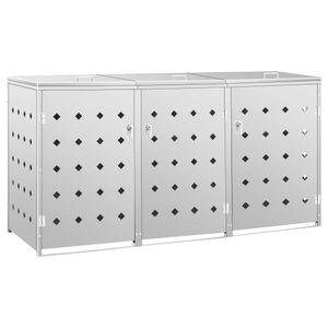 vidaXL Mülltonnenbox für 3 Tonnen 240 L Edelstahl