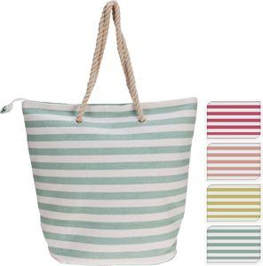 Tasche Strandtasche Stoff Bast Streifen 45x34cm, Farbe:pink