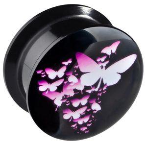 viva-adorno 1 Stück 12mm Flesh Plug Tunnel Acryl Schraubverschluss Schmetterlinge Pink Größe 6 - 20mm Z161
