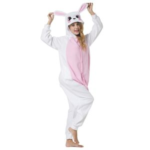 Jumpsuit, Onesie für Erwachsene Hase rosa-weiß L (165-175cm)