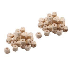 52 Natürliche Alphabet Buchstaben Würfel Platz Holz Spacer Perlen Handwerk DIY Schmuck