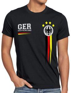 style3 Deutschland Herren T-Shirt EM 2021 2022 Germany Fußball Europameisterschaft Trikot, Größe:5XL, Farbe:Schwarz