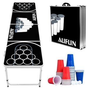 LARS360 Beer Pong Tisch Set inkl. 100 Becher (50 Rot & 50 Blau), 5 Bälle, Premium Höhenverstellbar Bierpong-Tisch,Kratz- und Wassergeschützt für den Sommer & Festival Partyspiele Trinkspiele
