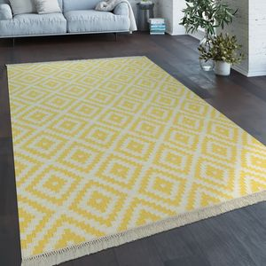 Teppich Modern Marokkanische Muster Handgewebt Skandi Rauten Fransen Gelb Weiß, Grösse:120x170 cm