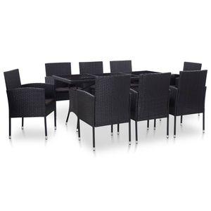 Huicheng Poly Rattan 9-tlg. Garten Essgruppe Sitzgruppe Esstischgruppe mit 8 Rattansessel + Glasplatte Tisch + Auflagen Schwarz