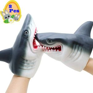Hai Handpuppe Delphin Handpuppe für Kinder Weichgummi Realistisches Weißes Hai Rollenspiel Spielzeug (2St. Hai Handpuppen)