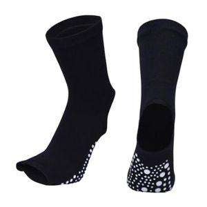 Yoga Socks Damen Toeless Rutschfeste Gummigriff Ferse Barre Dance Socken Schwarz 24x13cm Yoga-Socken Solide
