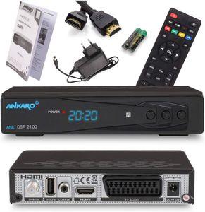 CYE Ankaro 2100 DSR Sat-Receiver - HD Satelliten Receiver mit USB-Mediaplayer Funktion - DVB-S/S2 Receiver für Satellit - Astra & Hotbird vorinstalliert + HDMI Kabel (Mit PVR Aufnahmefunktion)