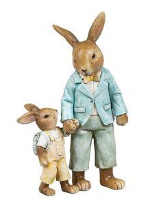 Deko Hase Osterhase Hasen Paar Kind Kaninchen Garten Figur Skulptur Osterei Ei