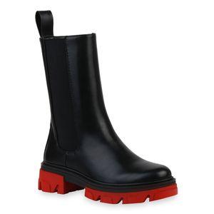 VAN HILL Damen Plateaustiefel Stiefel Plateau Vorne Profil-Sohle Schuhe 836491, Farbe: Schwarz Rot, Größe: 37