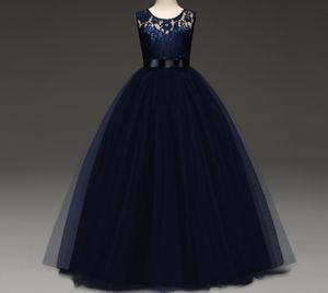 Kinder Spitzenhochzeitsabendkleid Partykleid Blumenmädchen Tüll Prinzessin Kleid Größe:140 Marineblau