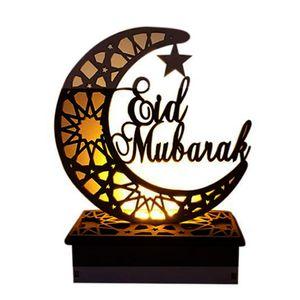 Ramadan Laterne LED Holz Mond Sterne Lichtdekoration Ramadan Eid Mubarak Home Decor Craft