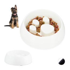 relaxdays 2 x Anti Schling Napf weiß Fressnapf Futternapf Langsames Fressen Hundenapf
