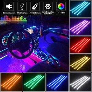Auto LED Innenbeleuchtung,72 LED Multicolor Musik mit Sound Active Funktion und drahtloser Fernbedienung, DC 12V